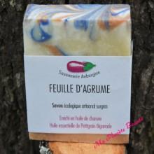 Savon Artisanal Feuille d'Agrume - Savonnerie Aubergine