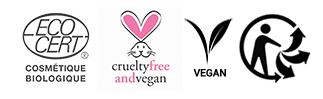 Labels vegan, cruelty free Avril