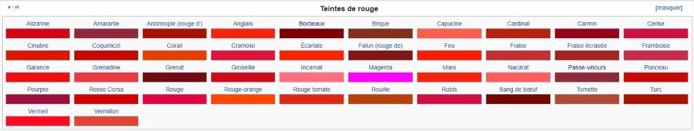 Palette de rouge