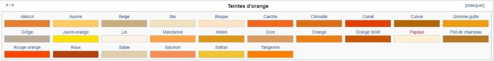 Palette d'orange