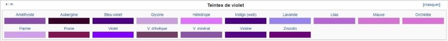 Palette de violet