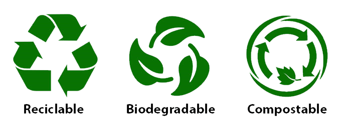 Logo compostable, recyclable, biodégradable